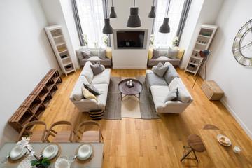 Obraz Mountain style living room - fototapety do salonu