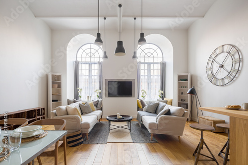 """contemporary living room with tv"""" stock photo and royalty-free"""
