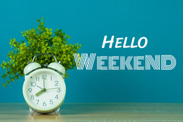 Hello Weekend text on green background and little tree with vintage alarm clock on wooden table