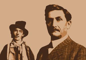 Portrait du shérif Pat Garrett et du bandit Billy the kid célèbres légendaires du western américain