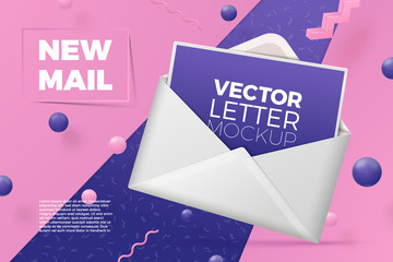 Vector 3d realistic abstract scene with open envelope and postcard.  Bright pink, violet and white background with geometric shapes.