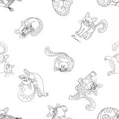 Seamless pattern of hand drawn sketch style funny cats isolated on white background. Vector illustration.