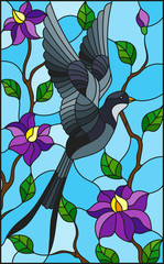 Illustration in stained glass style with swallow on background of the sky ,greenery and purple flowers