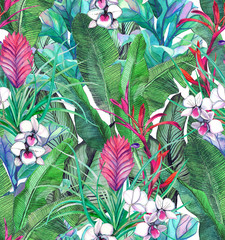 Seamless pattern with tropical leaves and flowers. watercolor pattern with white orchid phalinopsis. Botanical background
