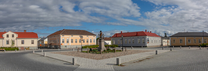 Main street of Raahe town in summer time
