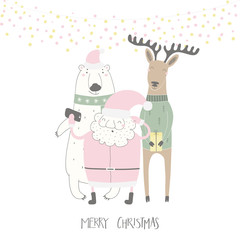 Hand drawn vector illustration of a cute funny Santa Claus, polar bear, deer taking selfie, with quote Merry Christmas. Isolated objects on white background. Flat style design. Concept card, invite.