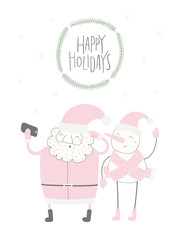Hand drawn vector illustration of a cute funny Santa Claus, snowman taking selfie, with quote Happy holidays. Isolated objects on white background. Flat style design. Concept Christmas card, invite.