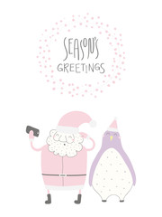 Hand drawn vector illustration of a cute funny Santa Claus, penguin taking selfie, with quote Seasons greetings. Isolated objects on white background. Flat style design. Concept Christmas card, invite