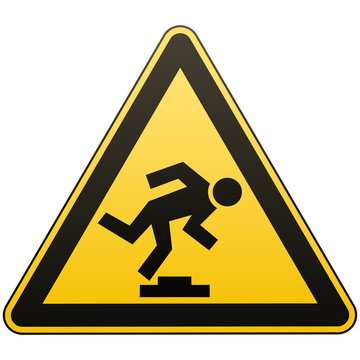 Caution unobtrusive obstacle. Safety sign. Measures to prevent danger in the workplace. Yellow triangle sign with black image. Isolated object. Vector illustrations.