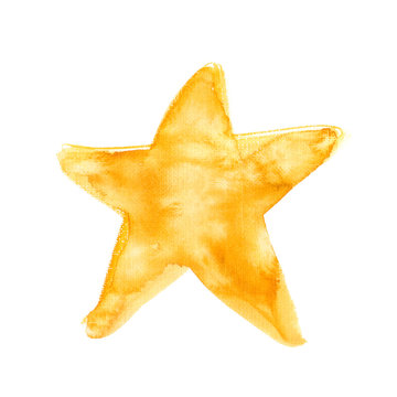 Simple abstract golden star painted in watercolor on clean white background. Illustration with rough canvas texture