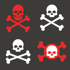 Set skull and crossbones, icon. The concept of warning of mortal danger. Pirate's mark. Vector element isolated on dark background.