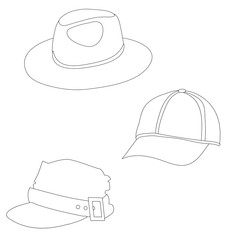 sketches, a hat, a cap