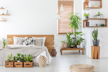 Pouf and plants in bright bedroom interior with pillows on bed with wooden headboard. Real photo