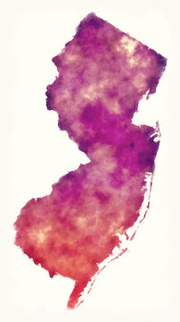 New Jersey state USA watercolor map in front of a white background