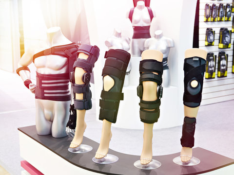 Brace on knee joint with sleeve made of neoprene in store