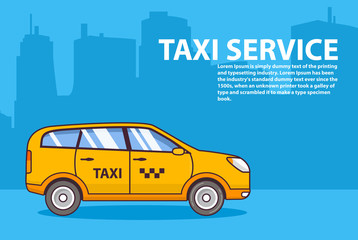 Yellow taxi service. Flat line art vector.Car cab SUV hatchback side view