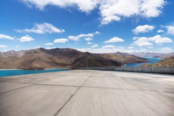 empty ground with blue sky