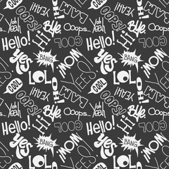 Vector seamless fashion sketch hand drawn pattern with lettering