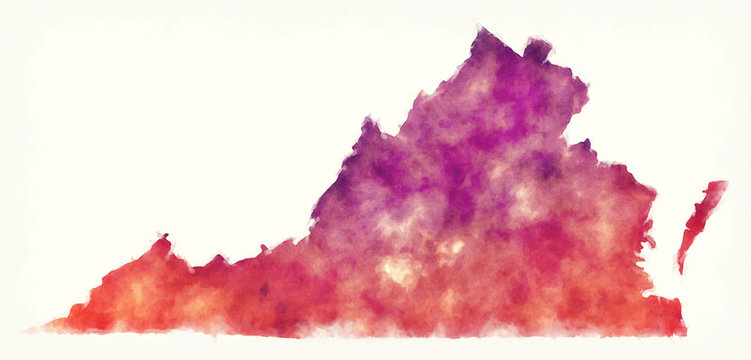 Virginia state USA watercolor map in front of a white background