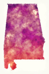Alabama state USA watercolor map in front of a white background