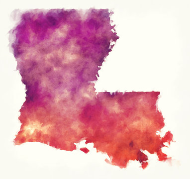 Louisiana state USA watercolor map in front of a white background