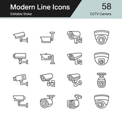 CCTV Camera icons. Modern line design set 58. For presentation, graphic design, mobile application, web design, infographics, UI. Editable Stroke.