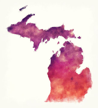 Michigan state USA watercolor map in front of a white background