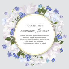 Round Vector banner with Luxurious summer flowers.
