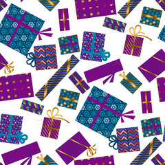 Violet and blue xmas gift box seamless pattern