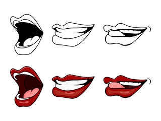 cartoon lips smile set isolated on white background