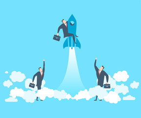 Happy young businessman on the rocket soars up