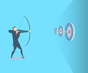 Happy young businessman hits the target. The concept of victory.