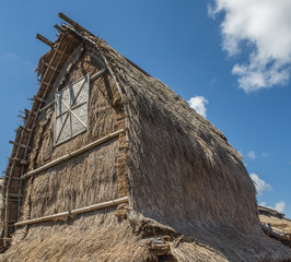 The traditional design of the exterior roof of SASAK houses in Lombok Island, Indonesia