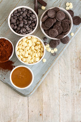 assorted confectioners chocolate in dishes