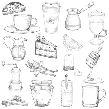 Set tea and coffee vector elements isolated on a white background. Vector illustration doodle sketch style