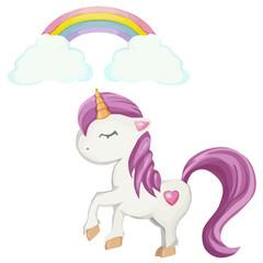 Cute cartoon unicorn character and rainbow vector illustration