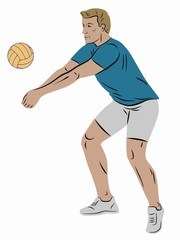 illustration of a volleyball player , vector draw