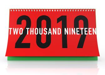 Calendar 2019. Isolated on White.