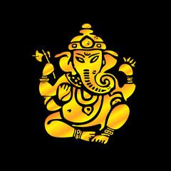 Elephant Ganesh, golden silhouette on black background,