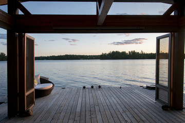 Dock over the lake, Lake of The Woods, Ontario, Canada
