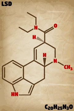 Detailed infographic illustration of the molecule of LSD.