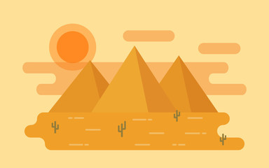Desert landscape. Vector. Illustration in flat design with cactus and mountains. Nature horizontal background.