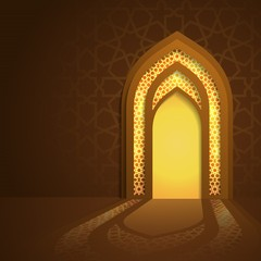 Islamic mosque door glow background with arabic pattern