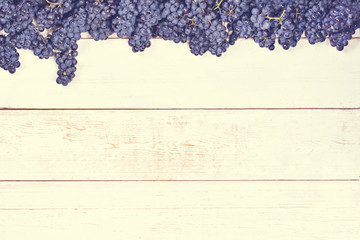 Blue grapes on white old boards. Background with grapes,