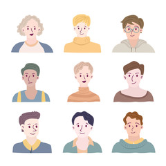 Set of people avatars for social media, website. Doodle portraits fashionable guys. Trendy hand drawn icons collection. Vector illustration.