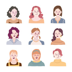 Set of people avatars for social media, website. Doodle portraits fashionable girls. Trendy hand drawn icons collection. Vector illustration.