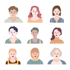 Set of people avatars for social media, website. Doodle portraits fashionable girls and guys. Trendy hand drawn icons collection. Vector illustration.