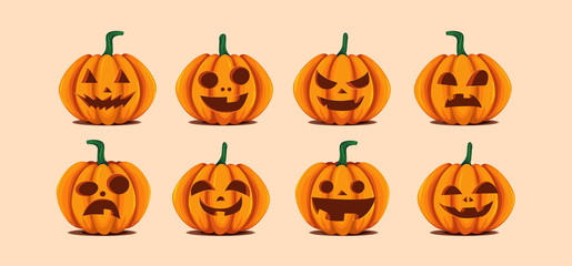 Halloween pumpkins in vector with set of different faces for icons and decorations in bright background. Vector illustration.