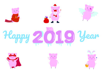 Happy new 2019 year poster with sleeping pig character on the frozen numbers flat style design vector illustration. Plus another pig characters on the greeting postcard.