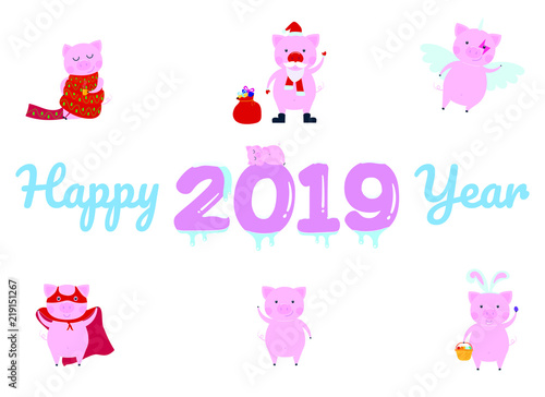 happy new 2019 year poster with sleeping pig character on the frozen